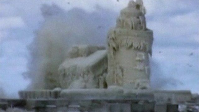 Lighthouse covered in ice