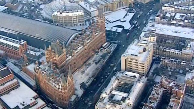 Aerial view of St Pancras station.