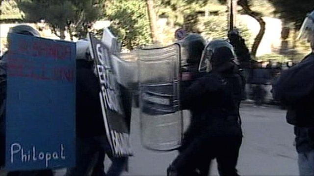 Clashes in Palermo, Sicily