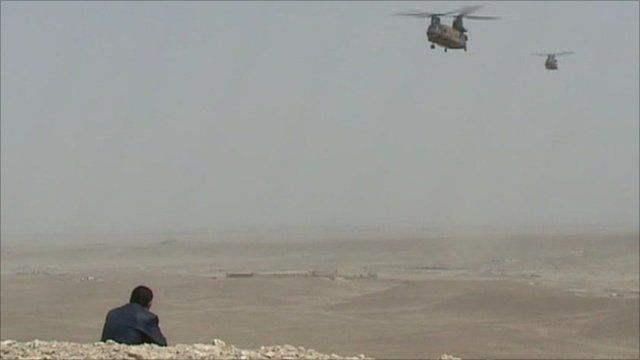Helicopter fly over Afghanistan