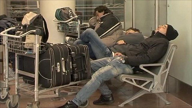 People sleeping at Brussels' Zaventem airport