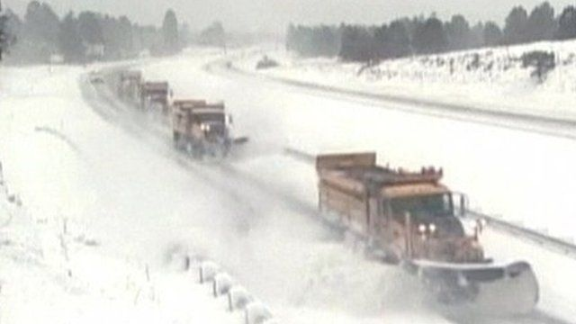 Snow ploughs clear highways in Arizona
