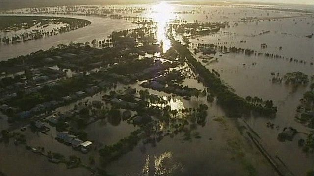A flooded town in Australia