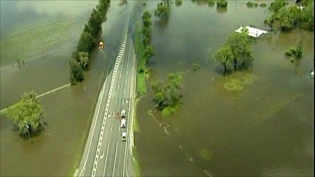 Flooded Australian road