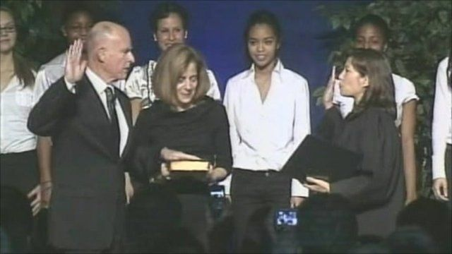 Jerry Brown being sworn in