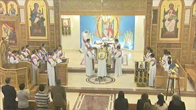 Coptic Christians celebrate midnight mass in Cairo