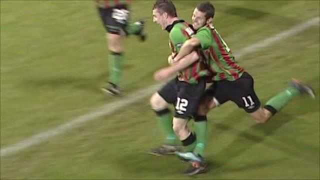 Celebrations following the goal by Matty Burrows