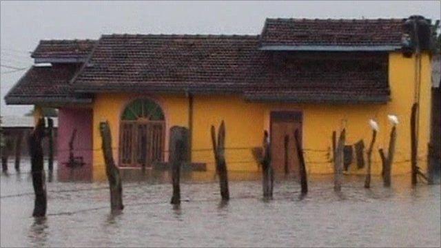Flooded house in Sri Lanka