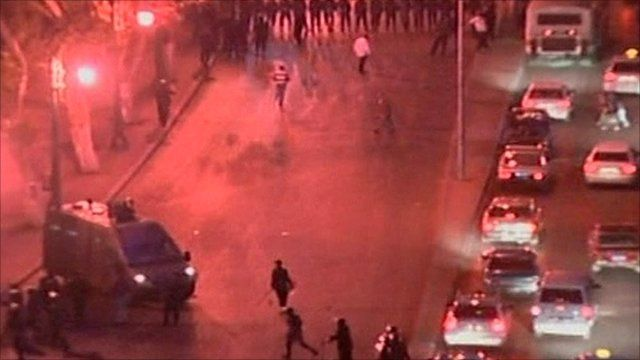 Police and protesters on the streets in Egypt