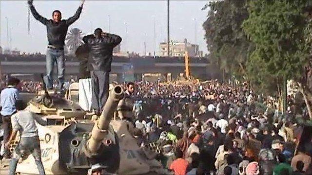 Protesters clash in Tahrir Square, Cairo