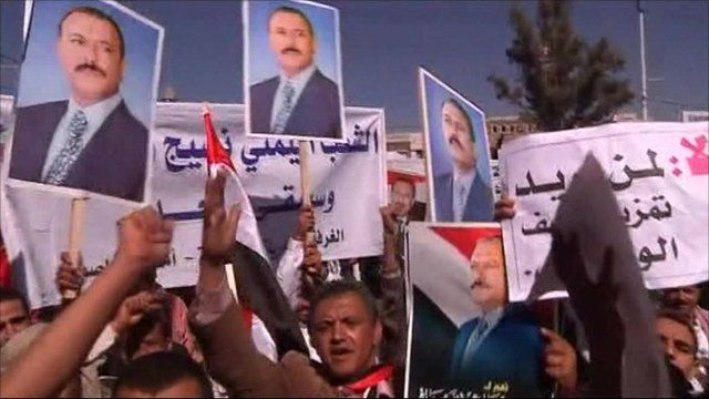 Supporters of President Ali Abdullah Saleh in Yemen