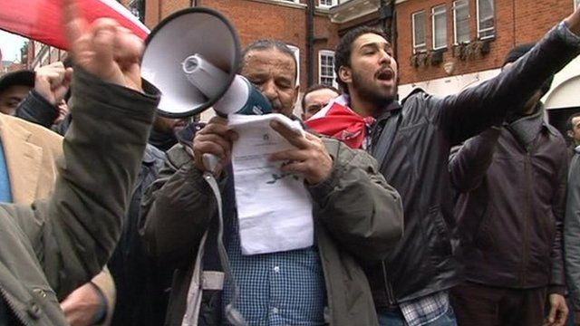 British Egyptians protesting in London