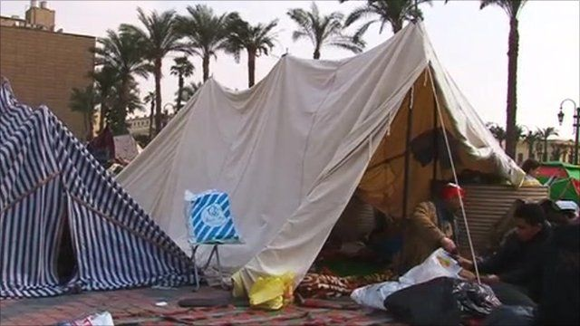 A tent in Tahrir Square