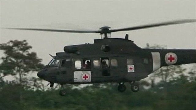 Helicopter brings hostages home
