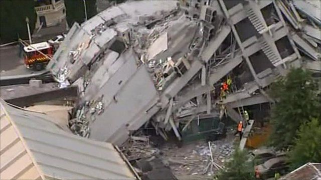 Collapsed building in Christchurch