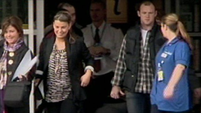 Coleen and Wayne Rooney leave hospital after the birth of their child