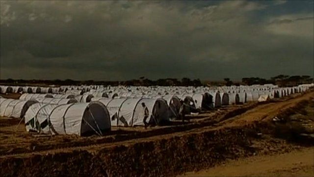 Tents set up by the UN