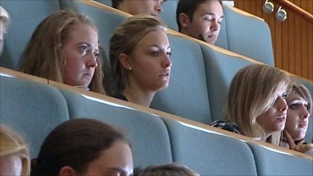 Students in a lecture at Exeter University