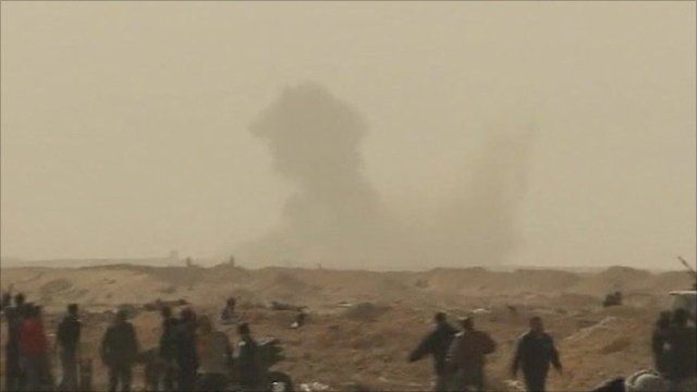 Bomb dropped in the distance in Libya
