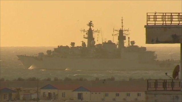 HMS Cumberland leaving Benghazi