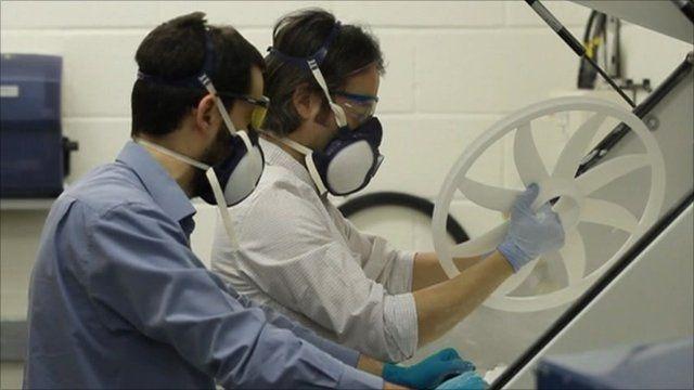 Engineers Chris Turner and Andy Hawkins manufacturing a nylon bike