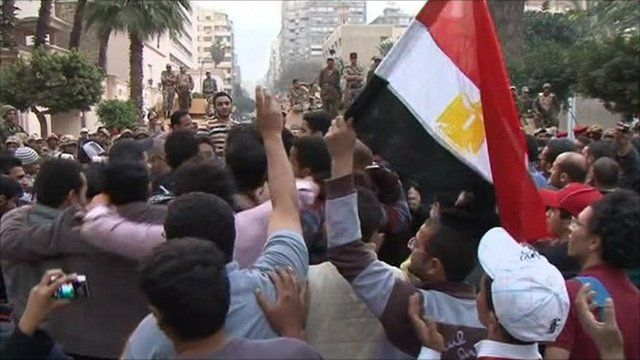 Protesters outside a building belonging to the state security service