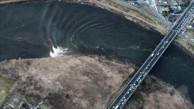 Aerial view of Japan's tsunami