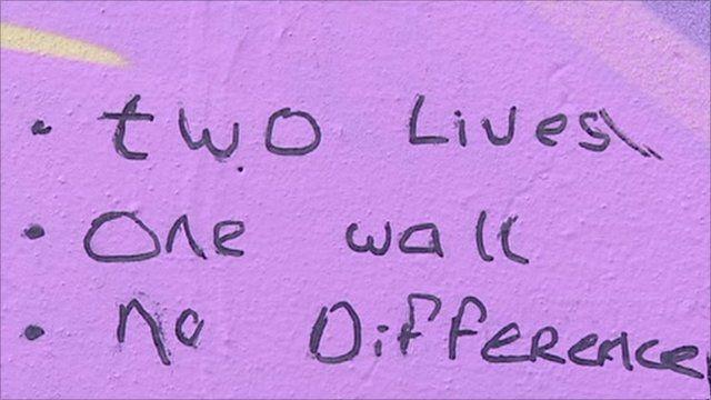 Writing on peace wall