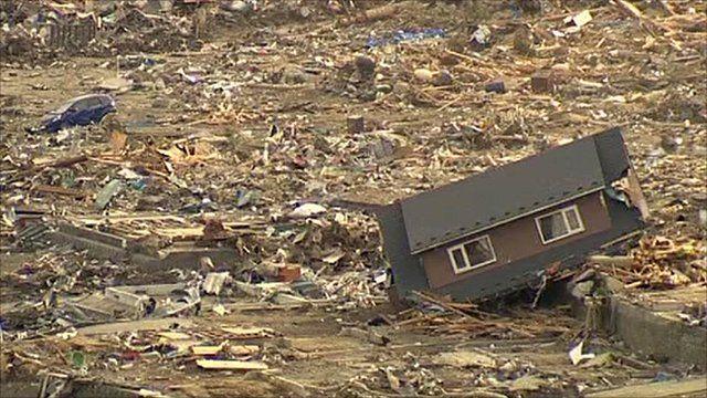 Devastated town