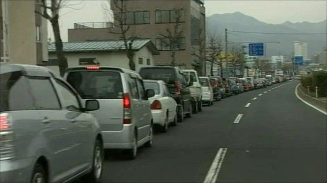 Petrol queues in Yamagata, Japan