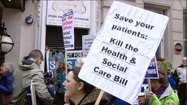 Protesters outside the BMA meeting