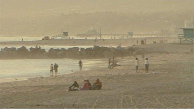 Beach scene in California