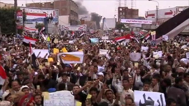 Protesters chanting in Sanaa, Yemen