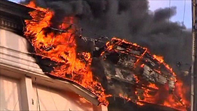 Egyptian interior ministry compound on fire