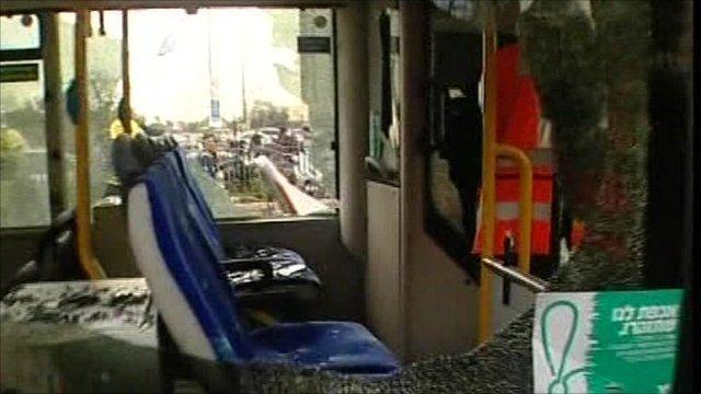 Broken windows of bus involved in explosion in Jerusalem