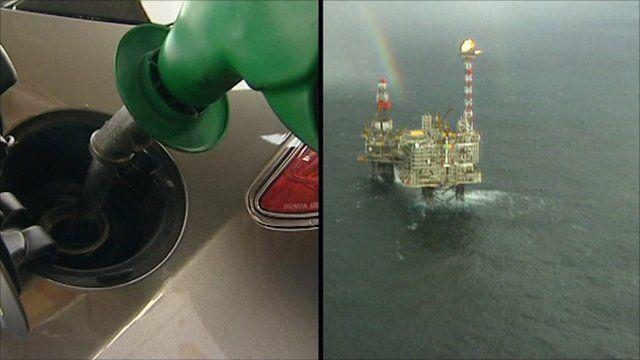 A petrol pump and an oil rig
