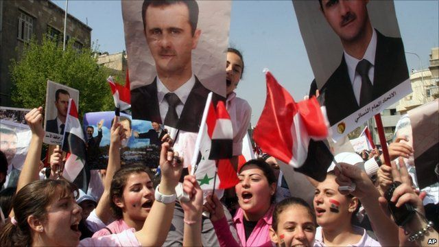 Supporters of President Assad in Damascus