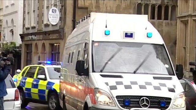 Police van brings Christopher Halliwell to Bristol Crown Court