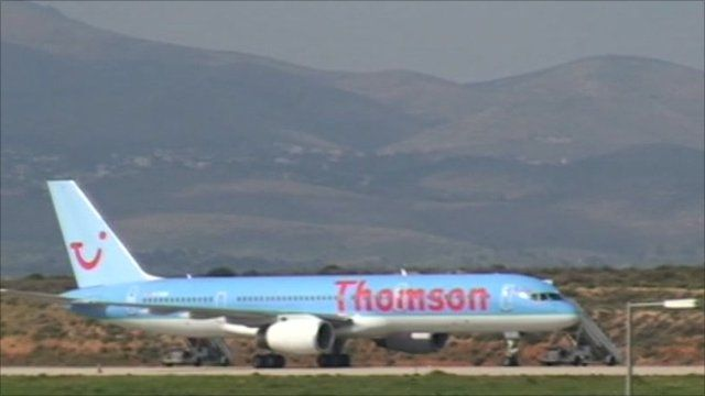 Thomson plane at Athens airport