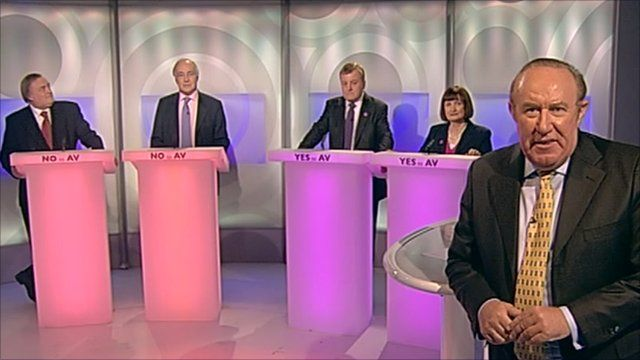 Andrew Neil and guests John Prescott, Michael Howard, Charles Kennedy, and Tessa Jowell at the AV debate