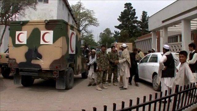 Outside the Jalalabad hospital