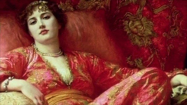 Painting of society lady dressed as if she was in Arabian Nights