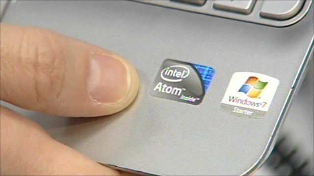 Intel label on laptop