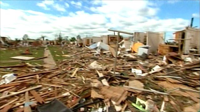 Destruction caused by the tornado in Alabama