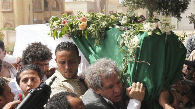 Libyans at Saif Al-Arab Gaddafi's funeral
