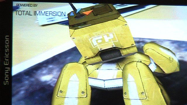 Augmented reality robot displayed on a smartphone screen