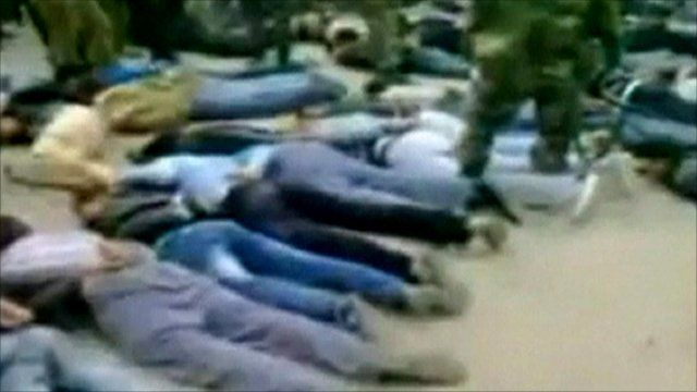 Unconfirmed footage of protesters face down on the ground