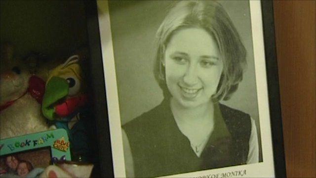 Photo of Monika Suchocka on shelves in her room