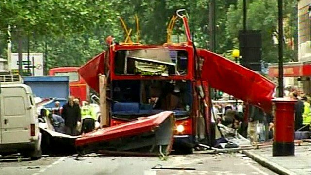 Bus involved in explosion