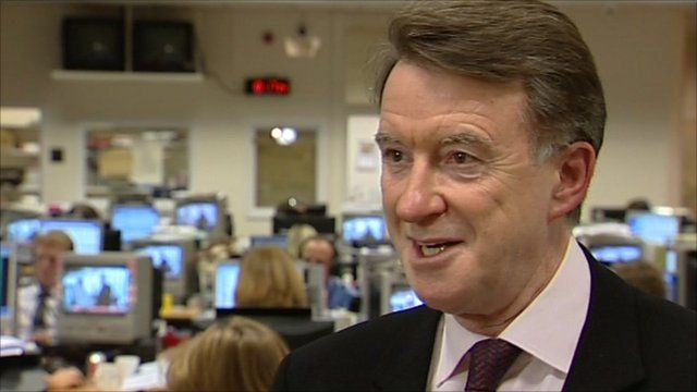 Lord Mandelson in Millbank newsroom